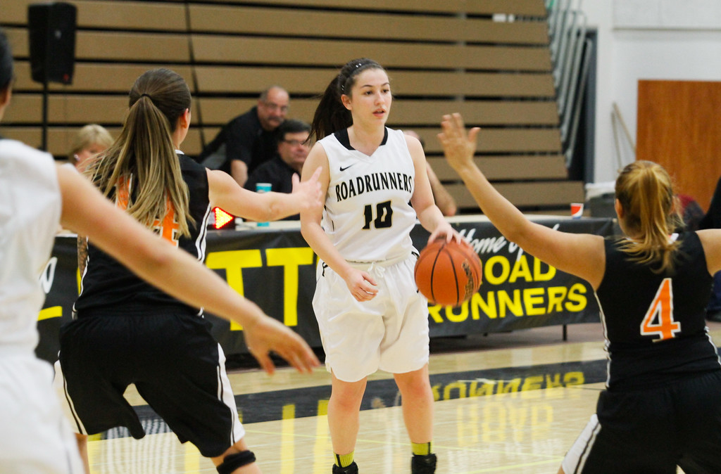 . Butte College\'s Jessica Maglietta calls the play as she runs towards Lassen\'s defense during a women\'s basketball game February 15, 2017 at Butte College in Oroville, California. (Emily Bertolino -- Enterprise-Record)
