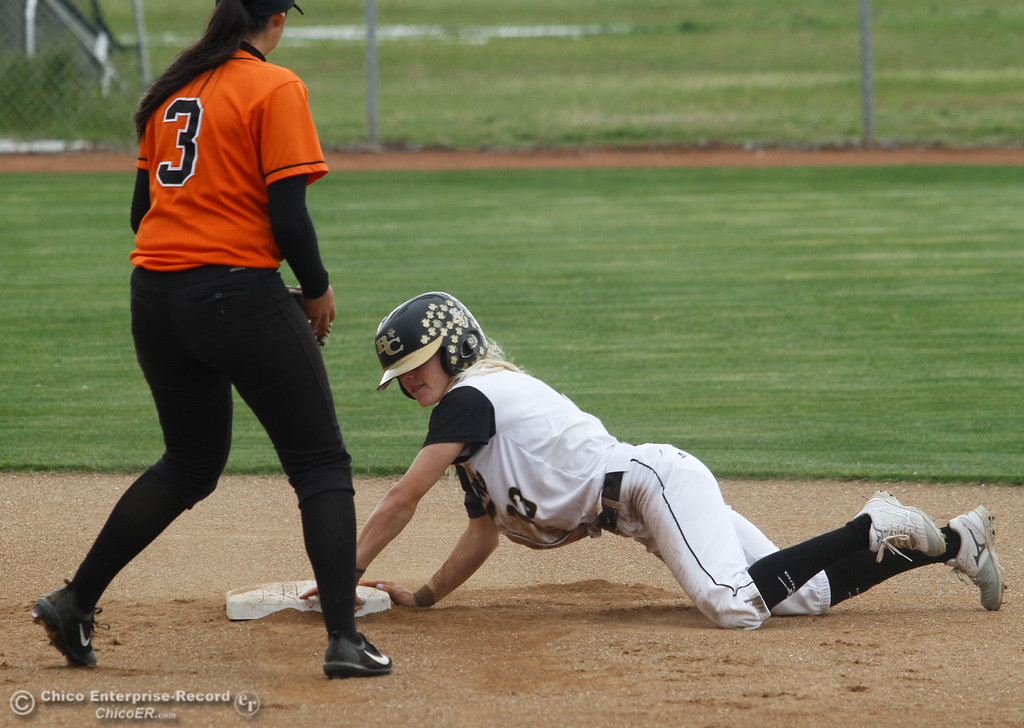 . Butte College\'s Sarah Wirrig touches down at second during a softball game Wednesday April 26, 2017 in Oroville, California. (Emily Bertolino -- Mercury Register)