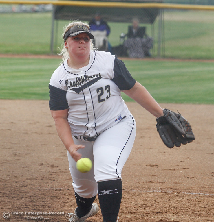 . Butte College\'s pitcher Trisa Kociemba during a softball game against Lassen College Wednesday April 26, 2017 in Oroville, California. (Emily Bertolino -- Mercury Register)