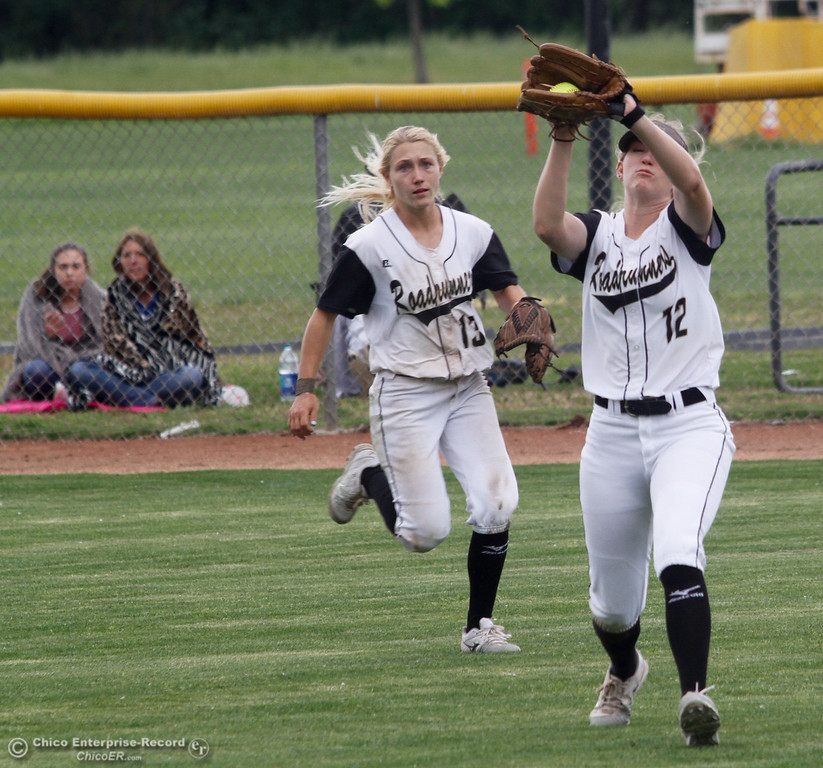. Butte College\'s outfielder Jenna Robicheau catches a fly ball with Sarah Wirrig coming in for backup during a softball game against Lassen College Wednesday April 26, 2017 in Oroville, California. (Emily Bertolino -- Mercury Register)