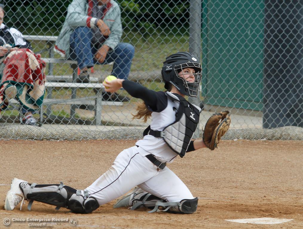 . Butte College\'s catcher Monica Deadmond during a softball game against Lassen College Wednesday April 26, 2017 in Oroville, California. (Emily Bertolino -- Mercury Register)