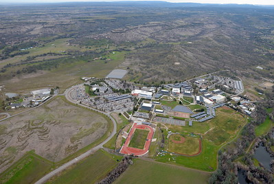 The Butte College Campus is seen during a PG&E  flight looking for drought-stricken trees in the Oroville foothills Wednesday, Jan. 25, 2017. (Bill Husa -- Enterprise-Record)