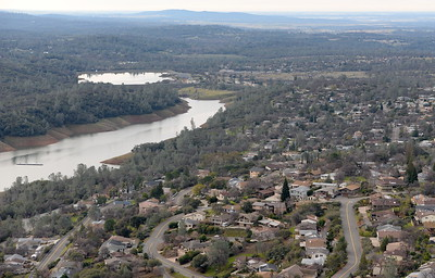 Oroville is seen from the air during a PG&E  flight looking for drought-stricken trees in the Oroville foothills Wednesday, Jan. 25, 2017. (Bill Husa -- Enterprise-Record)