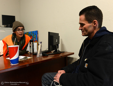 Sara Whitchurch, left, asks questions as Dillon Bohan takes the point in time survey Wednesday, Jan. 25, 2017, in Chico, California. Bohan was one of many people who took the surveys all over the Butte County from 8 a.m. to 6 p.m. (Dan Reidel -- Enterprise-Record)
