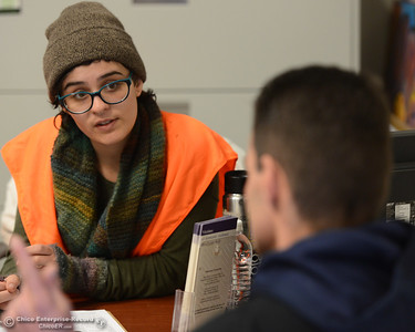 Sara Whitchurch asks questions of Dillon Bohan as people take and give out the homeless point in time survey Wednesday, Jan. 25, 2017, in Chico, California. Homeless people took the surveys all over the Butte County from 8 a.m. to 6 p.m. (Dan Reidel -- Enterprise-Record)