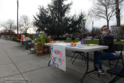 Abbey Hernandez helps people take the homeless point in time survey Wednesday, Jan. 25, 2017, at City Plaza in Chico, California. Homeless people took the surveys all over the Butte County from 8 a.m. to 6 p.m. (Dan Reidel -- Enterprise-Record)