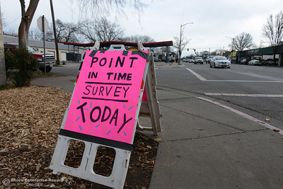 People take and give out the homeless point in time survey Wednesday, Jan. 25, 2017, in Chico, California. Homeless people took the surveys all over the Butte County from 8 a.m. to 6 p.m. (Dan Reidel -- Enterprise-Record)