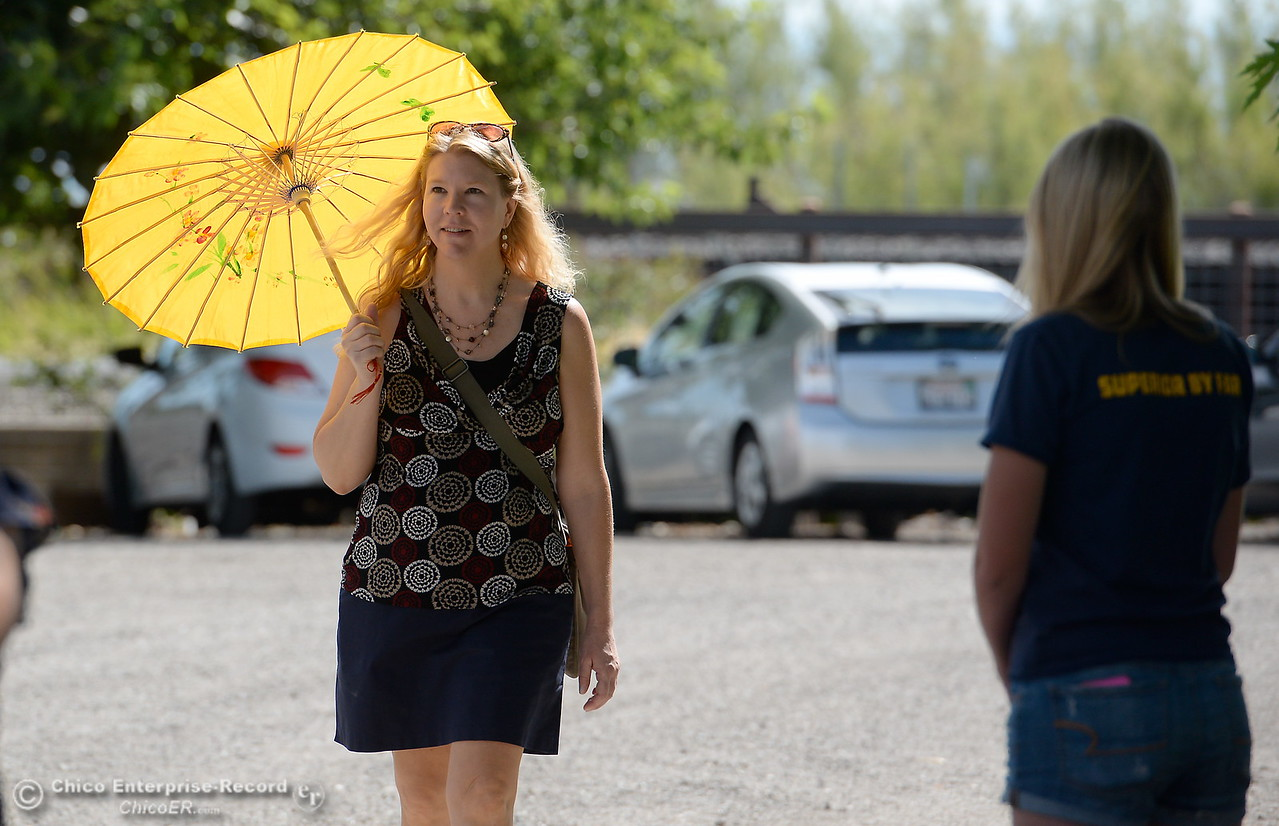 Former Enterprise-Record Reporter Heather Hacking arrives in style for a 20-years celebration of Butte Creek Salmon Recovery at Gorrill Ranch in Durham, Calif. Thurs. June 15, 2017. (Bill Husa -- Enterprise-Record)