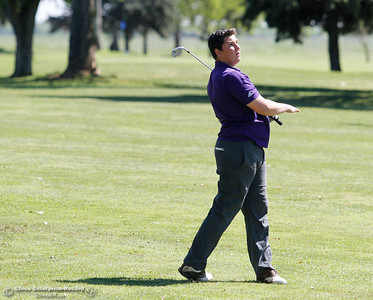 Oroville High's Wyatt Brown during the Butte View golf meet Wednesday April 6, 2016 at Table Mountain Golf Course in Oroville, Calif. (Emily Bertolino -- Enterprise-Record)