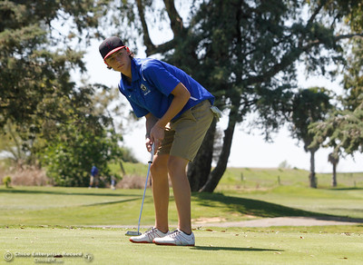 Wheatland's Johannes Scarsini during the Butte View golf meet Wednesday April 6, 2016 at Table Mountain Golf Course in Oroville, Calif. (Emily Bertolino -- Enterprise-Record)