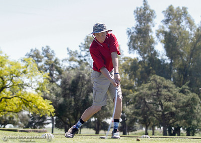 Las Plumas's Peyton Sherwood tees off during the Butte View golf meet Wednesday April 6, 2016 at Table Mountain Golf Course in Oroville, Calif. (Emily Bertolino -- Enterprise-Record)