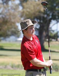 Las Plumas's Matt Gresham follows his ball during the Butte View golf meet Wednesday April 6, 2016 at Table Mountain Golf Course in Oroville, Calif. (Emily Bertolino -- Enterprise-Record)