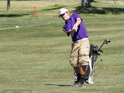Oroville High's Drake Nelson during the Butte View golf meet Wednesday April 6, 2016 at Table Mountain Golf Course in Oroville, Calif. (Emily Bertolino -- Enterprise-Record)