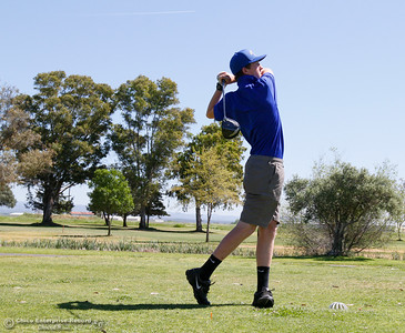 Sutter High's Caleb Crother tees off during the Butte View golf meet Wednesday April 6, 2016 at Table Mountain Golf Course in Oroville, Calif. (Emily Bertolino -- Enterprise-Record)