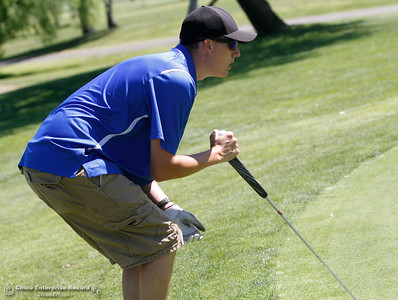 Wheatland's Cody Lundgren during the Butte View golf meet Wednesday April 6, 2016 at Table Mountain Golf Course in Oroville, Calif. (Emily Bertolino -- Enterprise-Record)