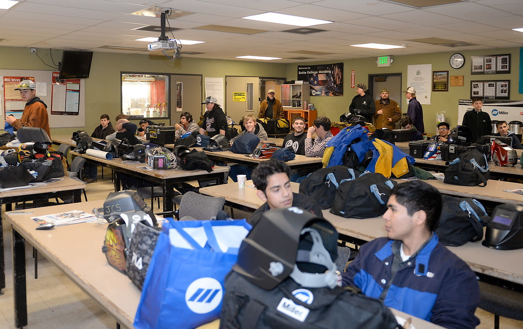 . High school students are seen in the classroom setting during the 2017 ARC Welding exposure class at Butte College Wed. Jan. 18, 2017.  (Bill Husa -- Enterprise-Record)