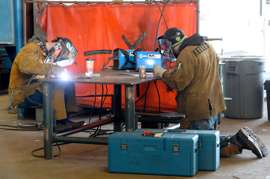 . Dallas Gray of Chico left and Randall Keeler of Chico practice welding on stainless steel during the 2017 ARC Welding exposure class at Butte College Wed. Jan. 18, 2017.  (Bill Husa -- Enterprise-Record)