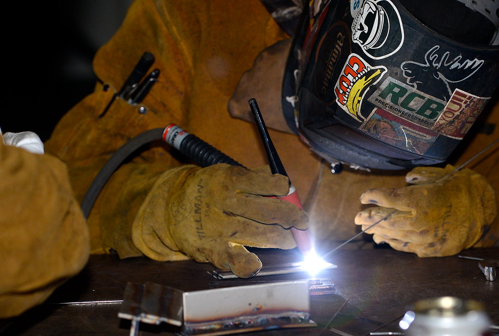 . Students practice various forms of welding during the 2017 ARC Welding exposure class at Butte College Wed. Jan. 18, 2017.  (Bill Husa -- Enterprise-Record)