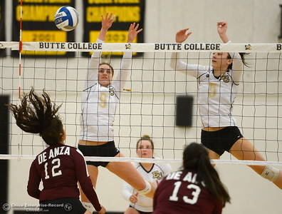 Butte's #9 Bailey Johnson and #5 Jacey Cornell handle things at the net against DeAnza's #12 Karina Lucero and Alaina Valenzuela during Butte vs DeAnza College Volleyball at Butte, Tuesday, Sept. 18, 2018.  (Bill Husa -- Enterprise-Record)