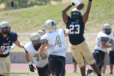 Butte #23 Terrel Goodwan blocks this pass attempt by Delta QB Joshua Drucker during Butte vs Delta football at Cowan Stadium in Chico, Calif. Saturday Sept. 1, 2018. (Bill Husa -- Enterprise-Record)