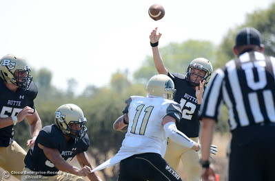 QB Brandt Hughes throws down field during Butte vs Delta football at Cowan Stadium in Chico, Calif. Saturday Sept. 1, 2018. (Bill Husa -- Enterprise-Record)
