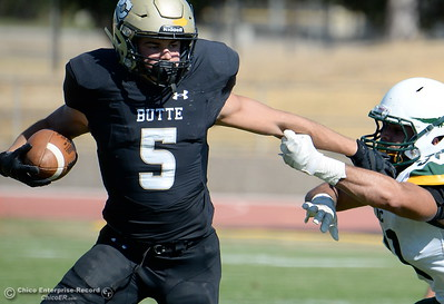 during Butte vs Feather River College football at Cowan Stadium in Chico, Calif. Saturday Oct. 13, 2018. (Bill Husa -- Enterprise-Record)