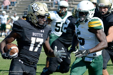 Butte's Deonta McMahon (17) gets around the corner on this play during Butte vs Feather River College football at Cowan Stadium in Chico, Calif. Saturday Oct. 13, 2018. (Bill Husa -- Enterprise-Record)