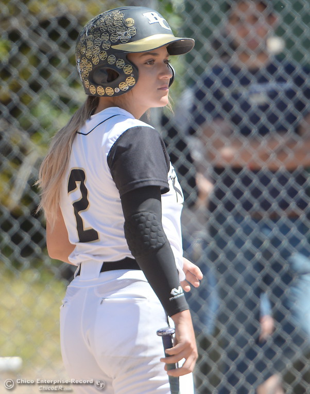 . Butte #2 Jolynn Kelly at bat during the first game of a doubleheader Butte vs Feather River College softball Friday April 20, 2018. (Bill Husa -- Enterprise-Record)