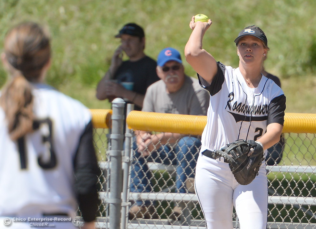. during the first game of a doubleheader Butte vs Feather River College softball Friday April 20, 2018. (Bill Husa -- Enterprise-Record)