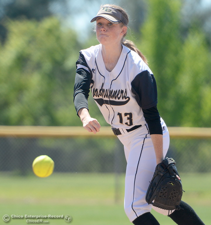 . Butte pitcher Jamie Engel fires toward the plate during the first game of a doubleheader Butte vs Feather River College softball Friday April 20, 2018. (Bill Husa -- Enterprise-Record)