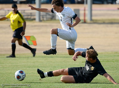 during Butte vs Folsom Lake College mens soccer at Butte College in Chico, Calif. Tuesday Sept. 11, 2018.  (Bill Husa -- Enterprise-Record)