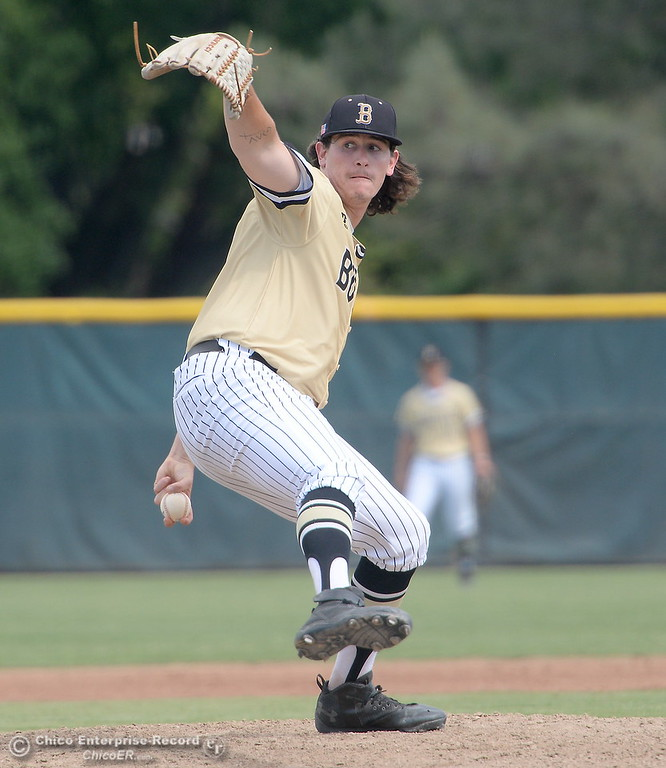 . Butte Pitcher #34 Ben Elder fires toward the plate during Butte vs Monterey baseball at Butte College in Chico, Calif. Tuesday May, 1, 2018.   (Bill Husa -- Enterprise-Record)
