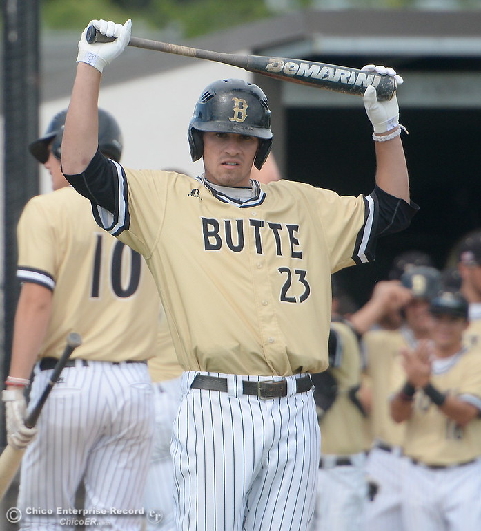 . Butte #23 Lane Pritchard stretches before his at bat during Butte vs Monterey baseball at Butte College in Chico, Calif. Tuesday May, 1, 2018.   (Bill Husa -- Enterprise-Record)