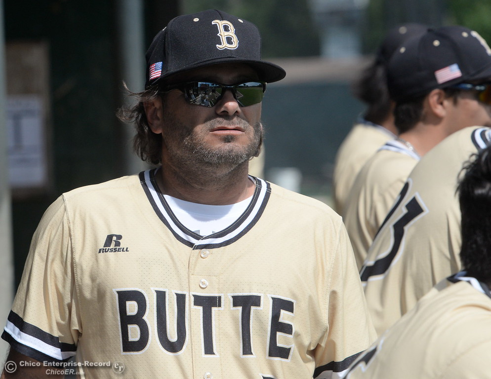 . Butte Coach --- during Butte vs Monterey baseball at Butte College in Chico, Calif. Tuesday May, 1, 2018.   (Bill Husa -- Enterprise-Record)