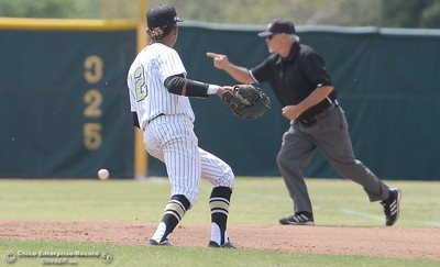 during Butte vs Redwoods baseball at Butte College Thurs. April 21, 2016. (Bill Husa -- Enterprise-Record)