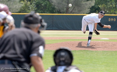 Butte Pitcher #4 Tevin Cadola fires toward the plate during Butte vs Redwoods baseball at Butte College Thurs. April 21, 2016. (Bill Husa -- Enterprise-Record)