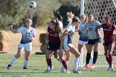 Butte #23 Elizabeth Turner keeps her eye on the ball on a corner kick during Butte College vs Sierra College womens soccer at Butte College in Chico, Calif. Thurs. Sept. 6, 2018.  (Bill Husa -- Enterprise-Record)