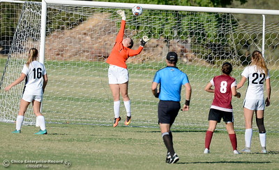 Butte Goalkeeper Allison Bergin blocks a ball up into the crossbar only to have another shot on goal score moments later during Butte College vs Sierra College womens soccer at Butte College in Chico, Calif. Thurs. Sept. 6, 2018.  (Bill Husa -- Enterprise-Record)