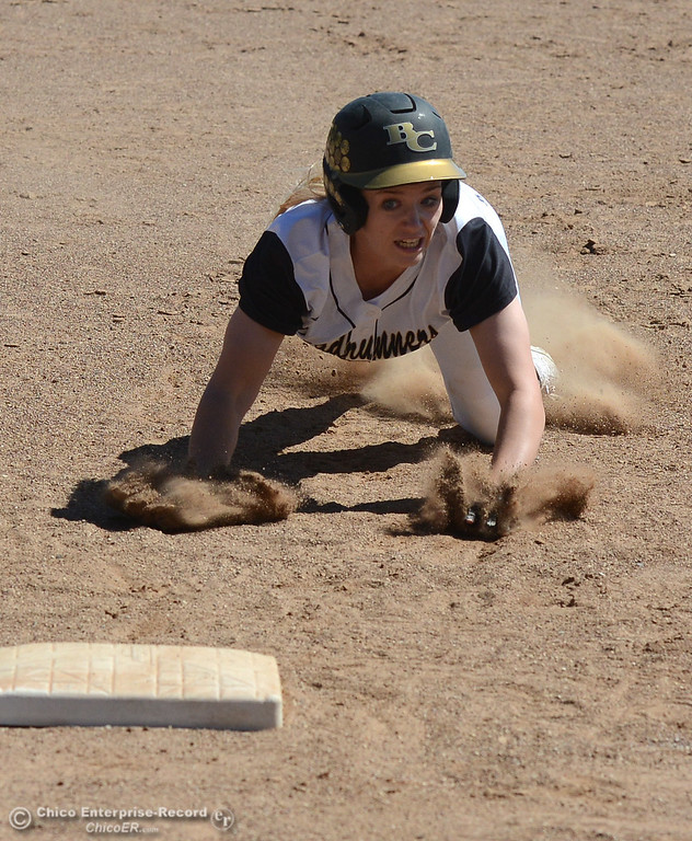 . Jenna Robicheau is caught on the basepath for a double play in the bottom of the seventh as the Butte College Roadrunners play College of the Siskiyous in the first half of a doubleheader Friday, March 31, 2017, in Butte Valley, California. (Dan Reidel -- Enterprise-Record)