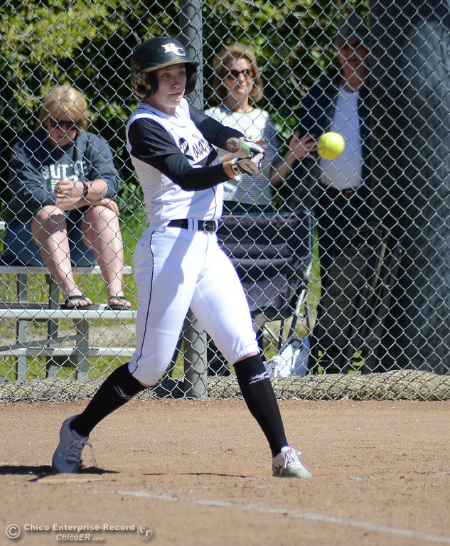 . Jenna Robicheau gets an infield hit in the bottom of the seventh as the Butte College Roadrunners play College of the Siskiyous in the first half of a doubleheader Friday, March 31, 2017, in Butte Valley, California. (Dan Reidel -- Enterprise-Record)