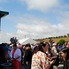 People mingled together in the open area of the Carlsbad Flower Fields.