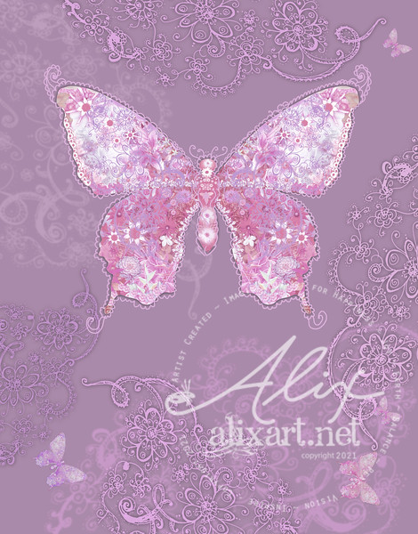 purpledesign butterfly floral
