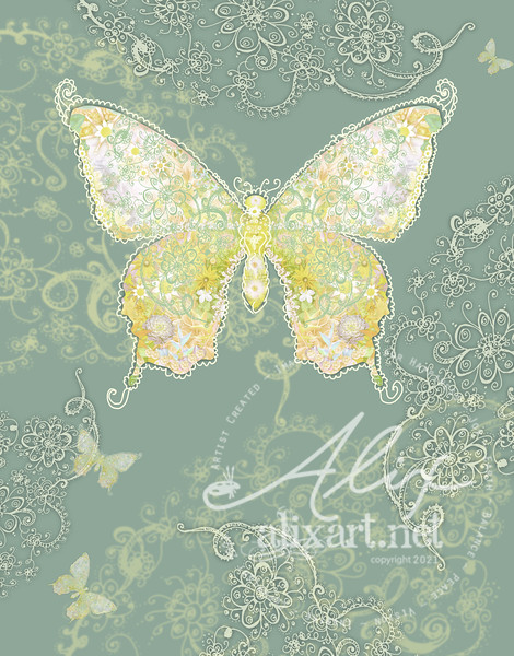 green yellow butterflyfloral