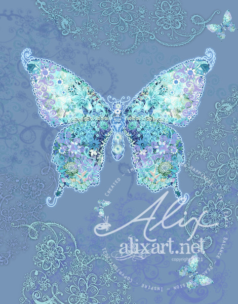 blue design butterfly floral