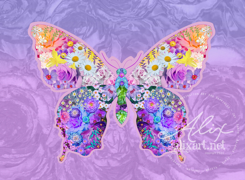purple butterfly floral