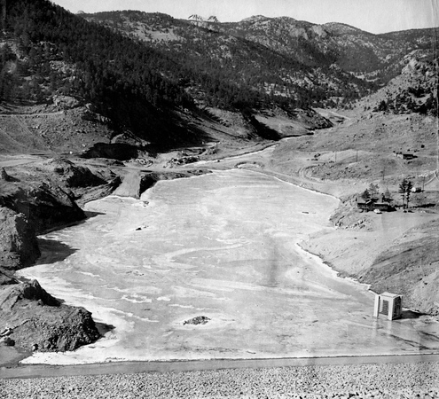 . From the Times-Call photo archive via Longmont Museum: Only finishing work remains on the giant dam. Button Rock dam drawing to completion. Photo from 1969. (Longmont Times-Call File/Longmont Museum)