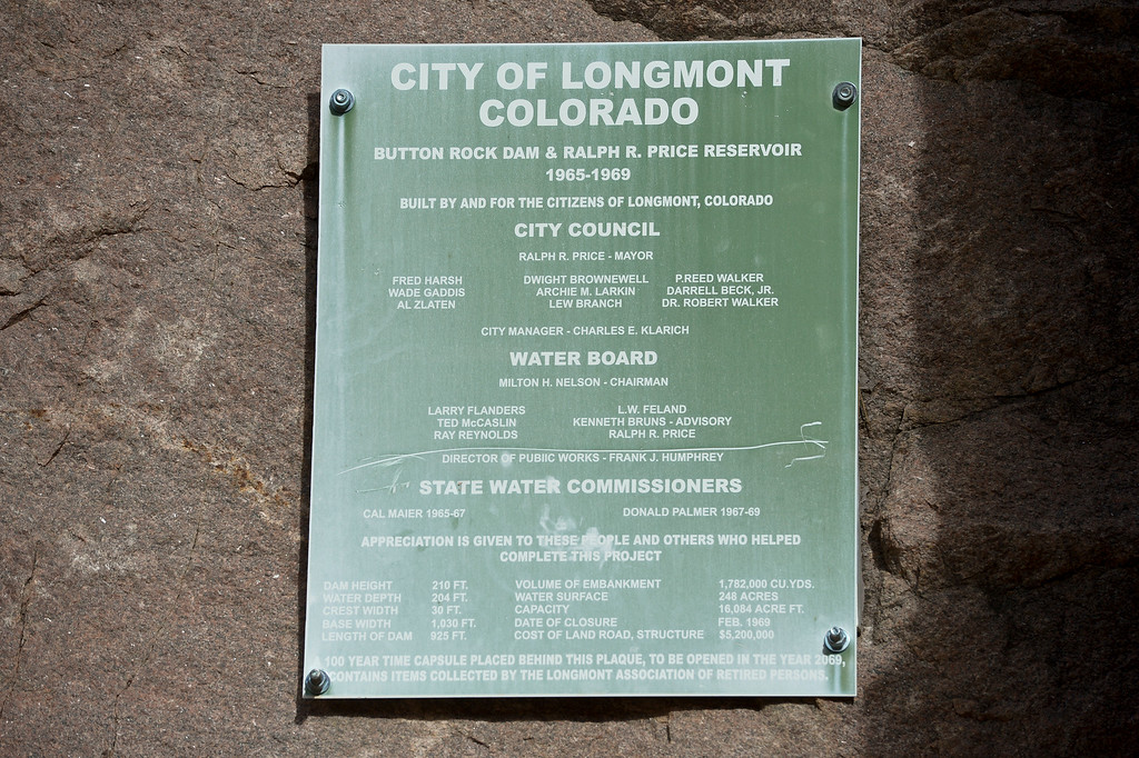 . LYONS, CO - FEBRUARY 28: A plaque posted adjacent to the control house at Button Rock Dam February 28, 2019. To view more photos visit timescall.com. (Photo by Lewis Geyer/Staff Photographer)