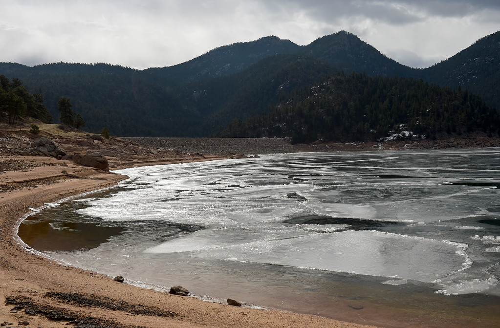 . LYONS, CO - FEBRUARY 28: The west side of Button Rock Dam with Ralph Price Reservoir in the foreground February 28, 2019. To view more photos visit timescall.com. (Photo by Lewis Geyer/Staff Photographer)