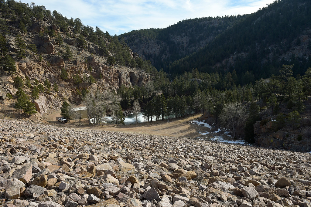 . LYONS, CO - FEBRUARY 28: The east side of Button Rock Dam, with the North St. Vrain below, February 28, 2019. The east face of the dam covers an area of about five acres. To view more photos visit timescall.com. (Photo by Lewis Geyer/Staff Photographer)