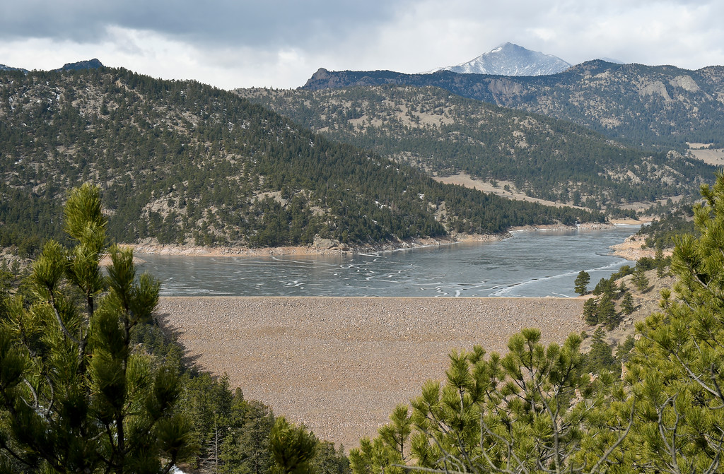 . LYONS, CO - FEBRUARY 28: A view of Button Rock Dam and Ralph Price Reservoir taken from Picture Rock February 28, 2019. Mount Meeker peaks through in the background. To view more photos visit timescall.com. (Photo by Lewis Geyer/Staff Photographer)